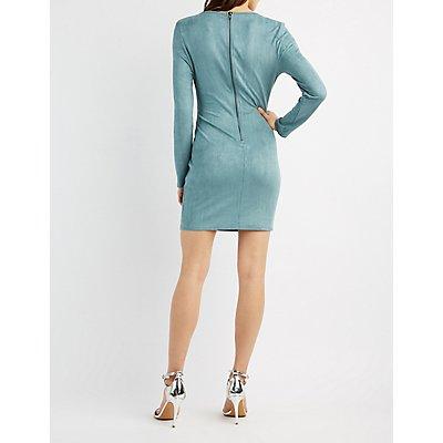 Faux Suede Lattice-Inset Bodycon Dress