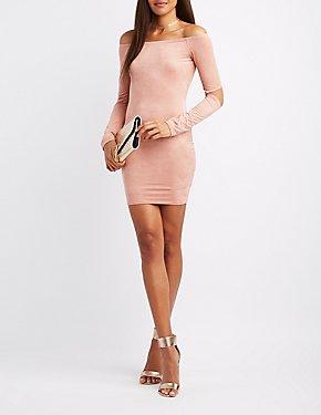 Faux Suede Off-The-Shoulder Bodycon Dress