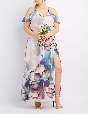 Plus Size Floral Surplice Cold Shoulder Maxi Dress