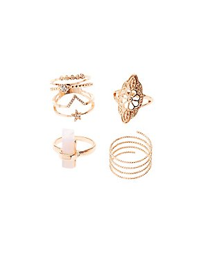 Plus Size Embellished Filigree Stackable Rings - 4 Pack