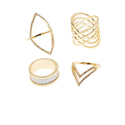 Plus Size Embellished Caged Rings - 4 Pack