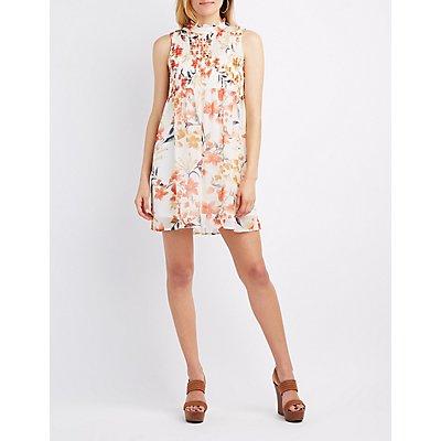 Floral Smocked Mock Neck Dress
