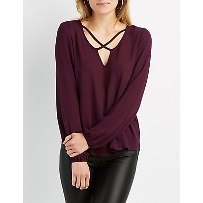 Strappy Notched Blouse