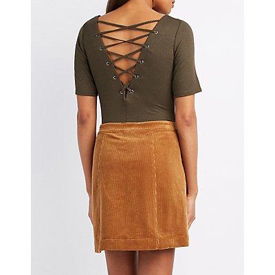 Lace-Up Back Bodysuit