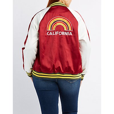 Plus Size Satin Embroidered Bomber Jacket