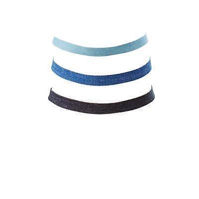 Denim Choker Necklaces - 3 Pack