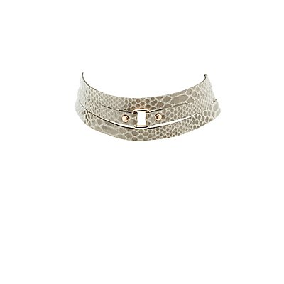 Faux Snakeskin Layered Choker Necklace