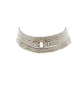 Faux Snakeskin Layered Choker Necklace
