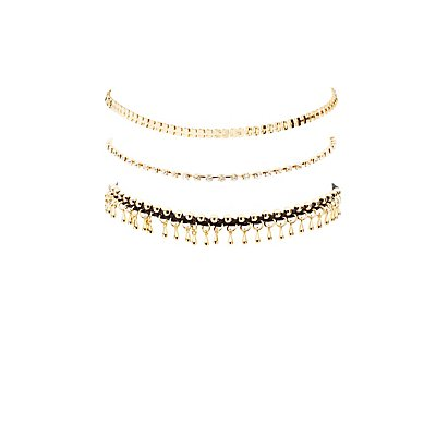 Embellished Chainlink Choker Necklaces - 3 Pack