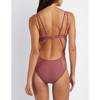 Caged Mesh One-Piece Swimsuit