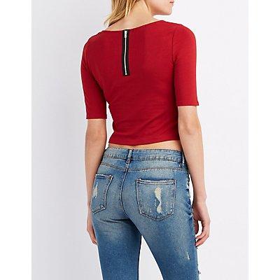 Zip-Back Crop Top