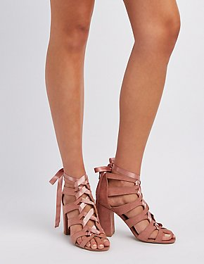 Caged Lace-Up Bow Sandals