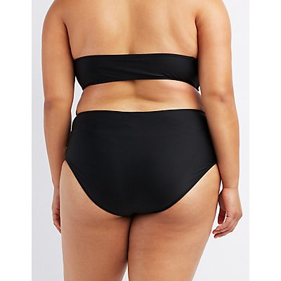 Plus Size Crochet-Trim Bikini Bottoms