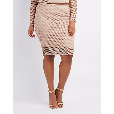Plus Size Fishnet Pencil Skirt