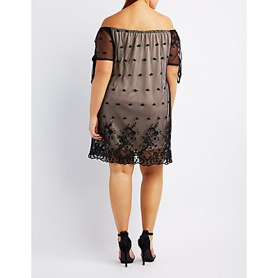 Plus Size Embroidered Mesh Off-The-Shoulder Dress