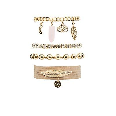 Beaded, Faux Suede & Rhinestone Layering Bracelets - 5 Pack