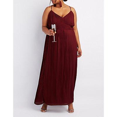 Plus Size Pleated V-Neck Maxi Dress