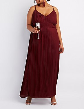 Plus Size Pleated V-Neck Maxi Dress