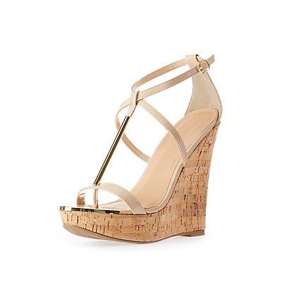 Gold-Trim T-Strap Wedge Sandals