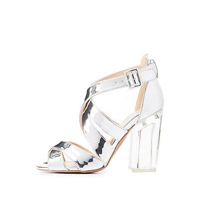 Qupid Metallic Lucite Heel Sandals