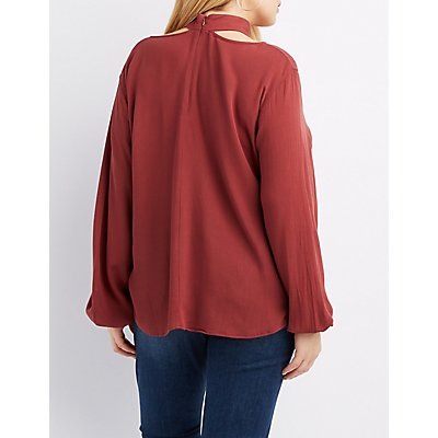 Plus Size Strappy Mock Neck Blouse
