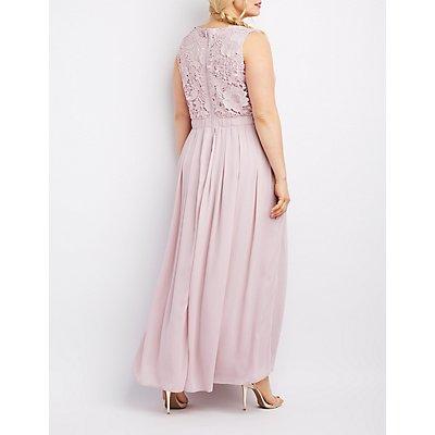 Plus Size Lace & Chiffon Maxi Dress