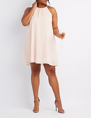 Plus Size Bib Neck Shift Dress