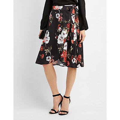 Floral Satin Wrap Skirt