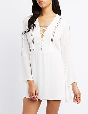 Crochet-Trim Lace-Up Skater Dress