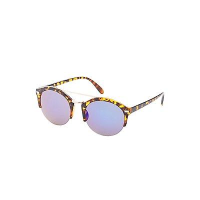 Metal Brow Bar Round Sunglasses