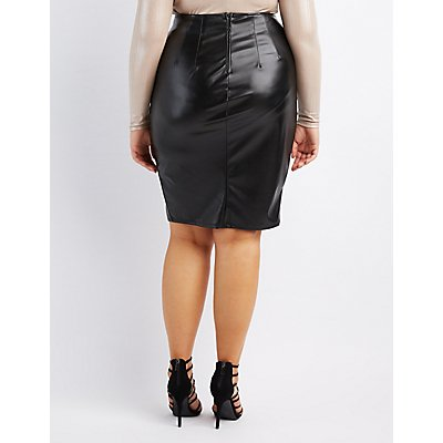 plus size faux leather pencil skirt russe