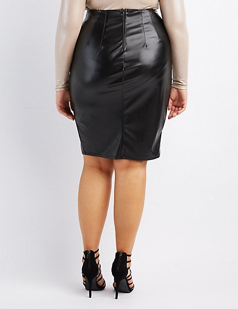 37f3dd7dd00ef Plus Size Faux Leather Pencil Skirt