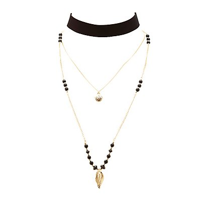 Choker & Beaded Chainlink Layered Necklace