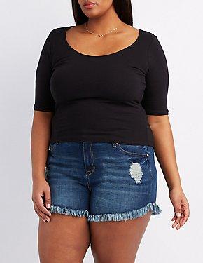 Plus Size Zip-Back Crop Top