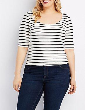 Plus Size Striped Zip-Back Crop Top