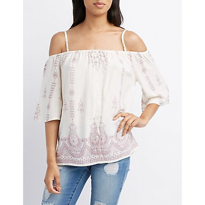 Printed Cold Shoulder Button-Up Top