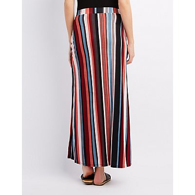Striped Wrap Slit Maxi Skirt