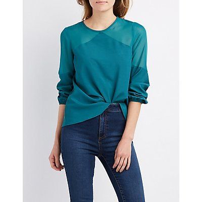 Satin Sheer-Shoulder Blouse