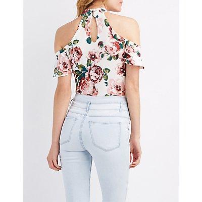 Floral Mock Neck Cold Shoulder Bodysuit