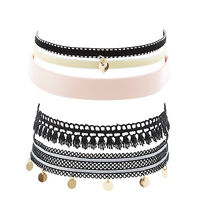Textured Choker Necklaces - 5 Pack