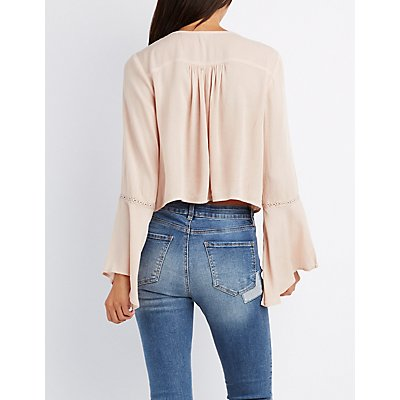 Lace-Up Crochet-Inset Crop Top