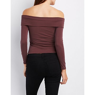 Ribbed Foldover Off-The-Shoulder Top