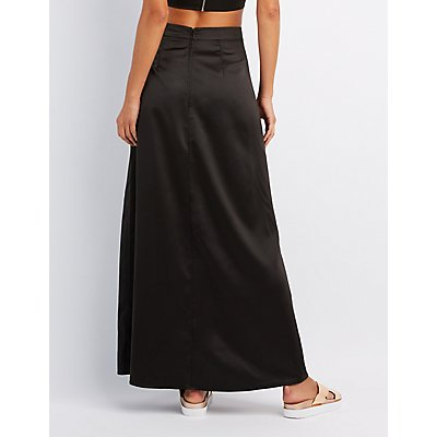 Satin Slit Maxi Skirt