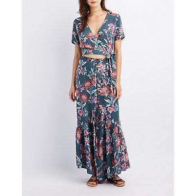 Floral Button-Up Maxi Skirt