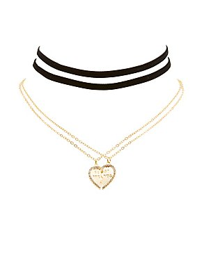 Best Friends Charm & Velvet Choker Necklaces - 4 Pack
