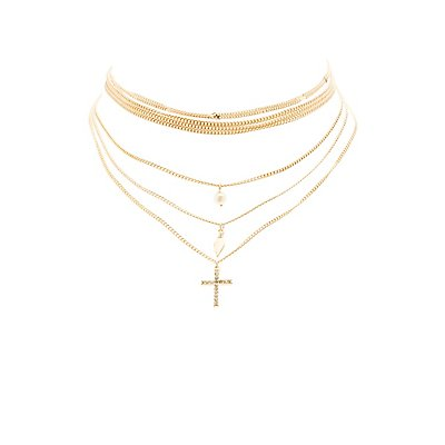 Multistrand Cross Choker Necklace