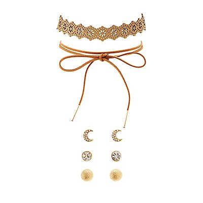 Faux Suede Chokers & Stud Earrings Set