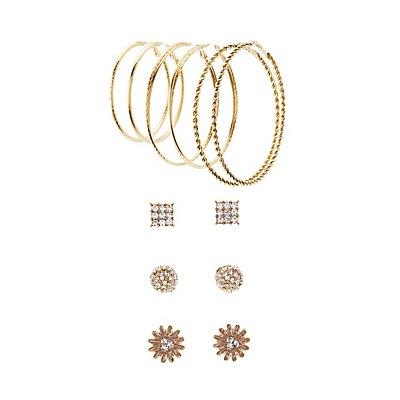 Hoop & Floral Stud Earrings Set