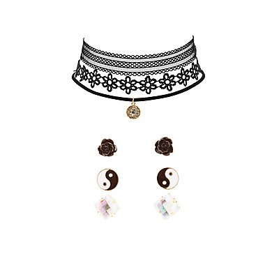 Choker Necklaces & Earrings Set