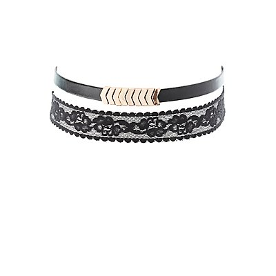 Faux Leather & Lace Choker Necklaces - 2 Pack